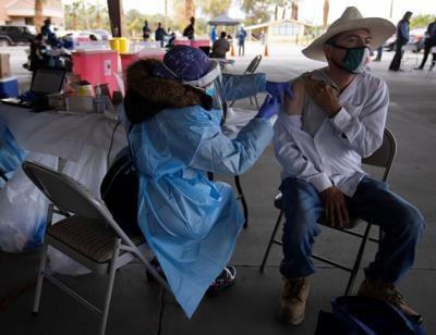 Farmworkers are vaccinated for the coronavirus disease (COVID-19) in California