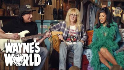 """Rapper Cardi B appears with Mike Myers and Dana Carvey as their """"Wayne's World"""" characters"""