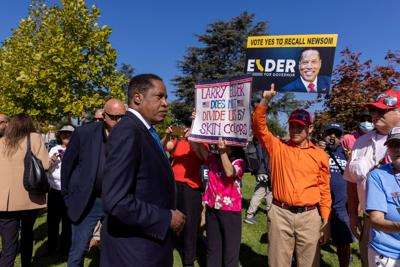 Gubernatorial recall candidate Larry Elder campaigns in the recall election of governor Gavin Newsom