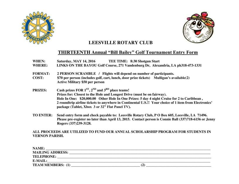 Bill Bailey Golf Tournament Entry Form | | westcentralsbest com