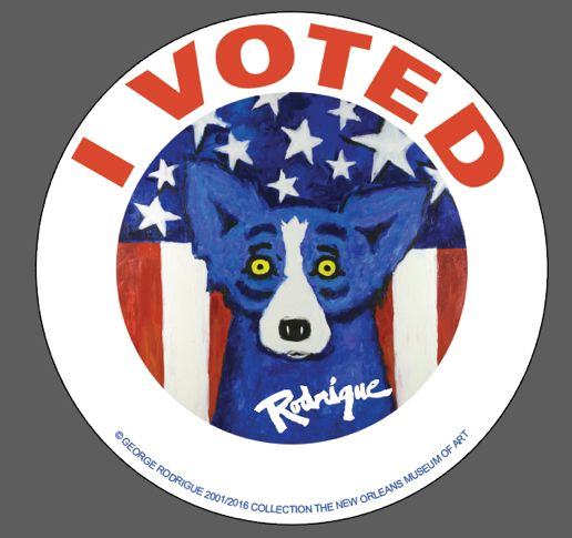 Blue dog i voted sticker