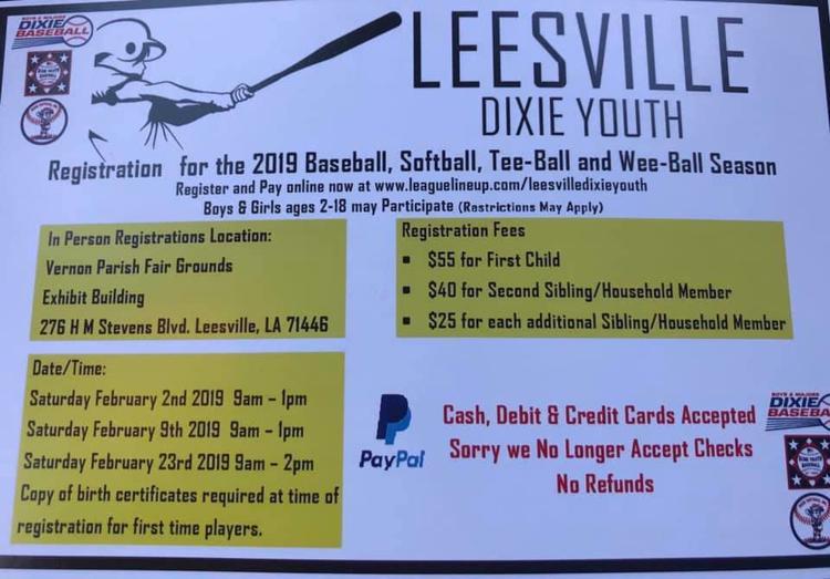Leesville Dixie Youth Registration | Calendar