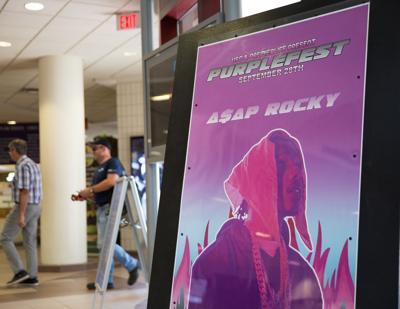 Purple Fest sign in Atrium, Aug 14 2019