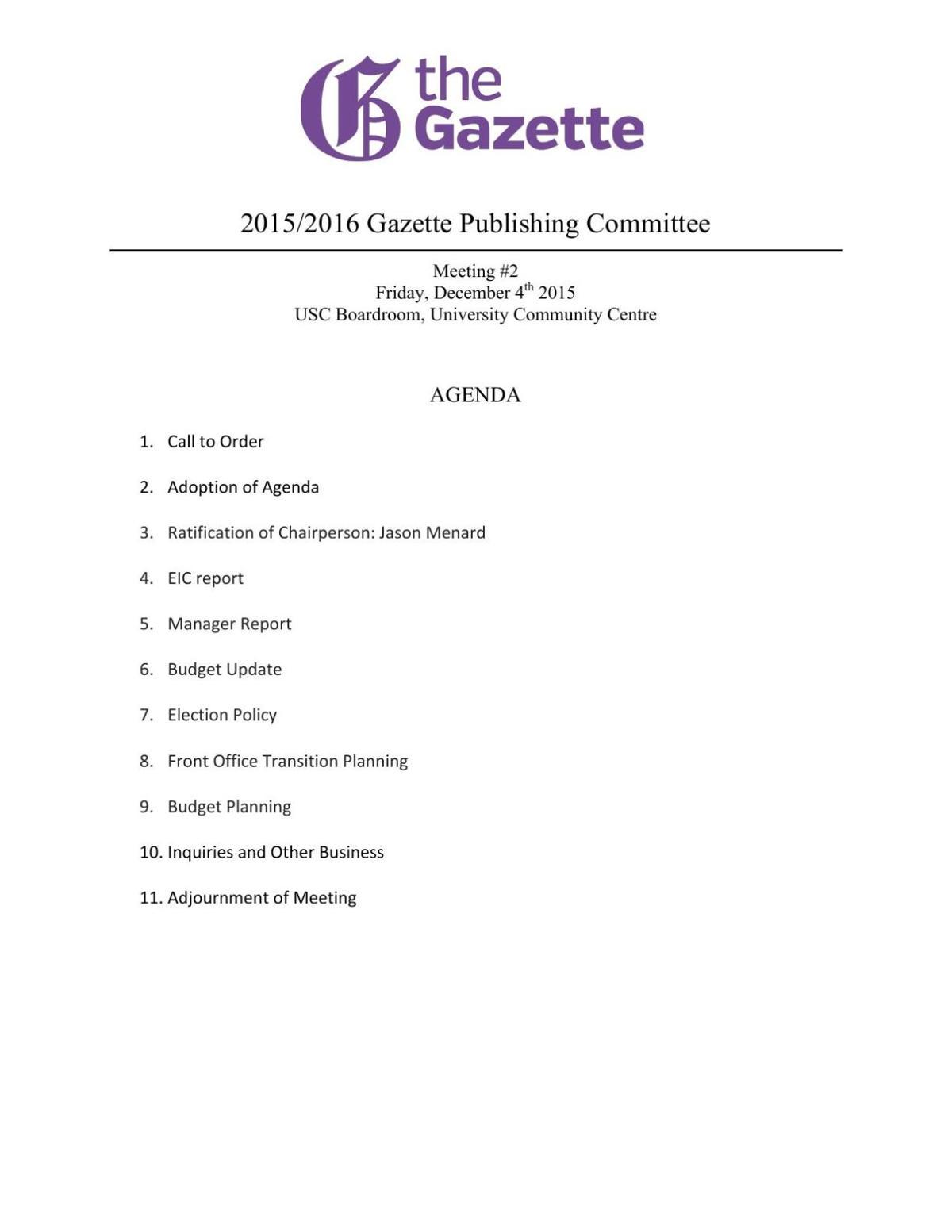 Publications Meeting Dec. 4, 2015