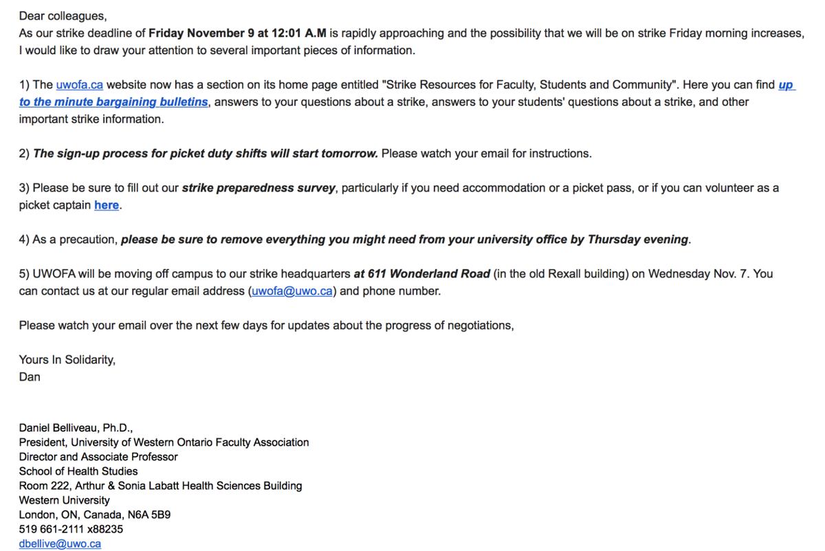 UWOFA email (Image)