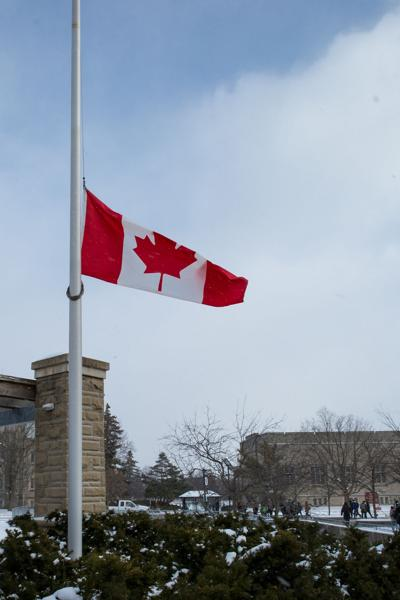 Half-mast flag on Concrete Beach
