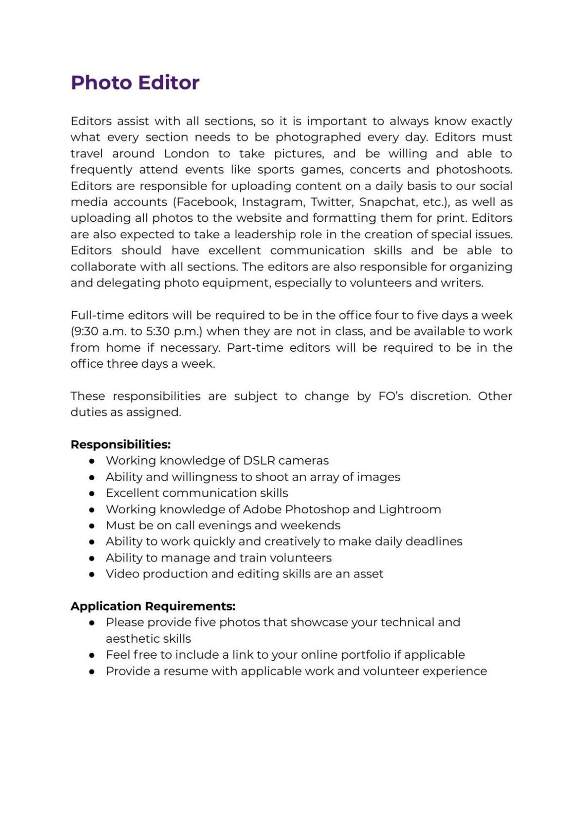 Photo Editor Job Description 2021