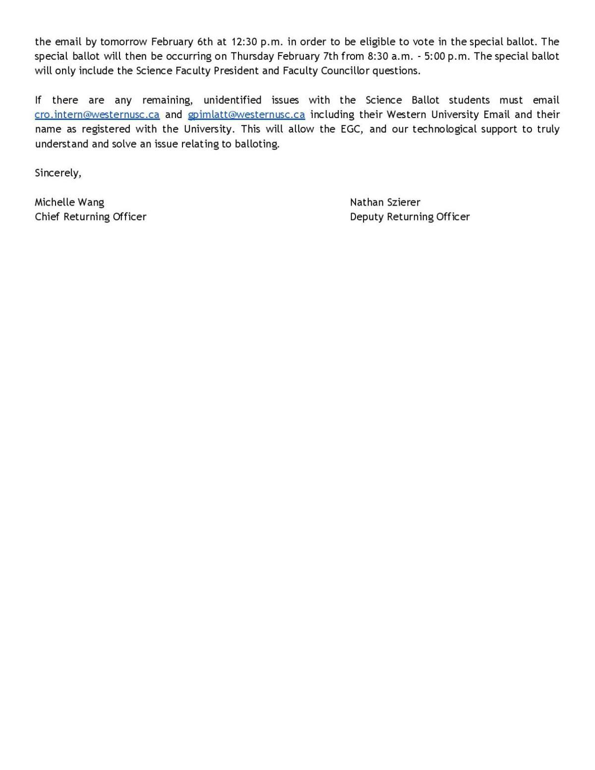 EGC response Feb. 5, two