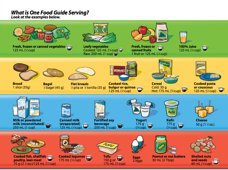 Canada S Food Guide Serving Chart