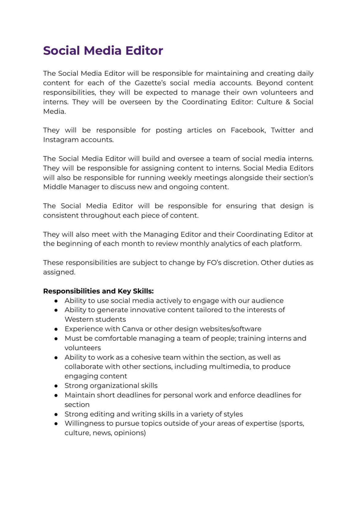 Social Media Editor Job Description 2021
