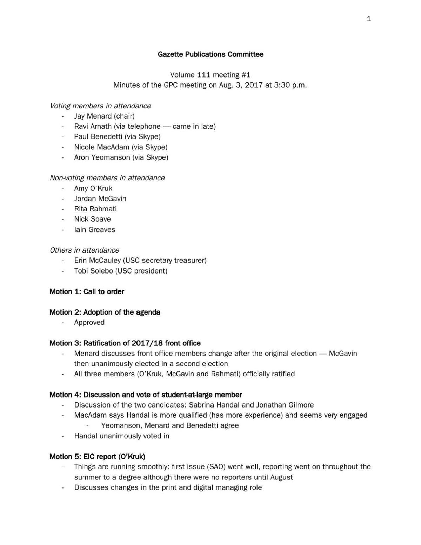 Aug. 3, 2017 Gazette Publications Committee minutes