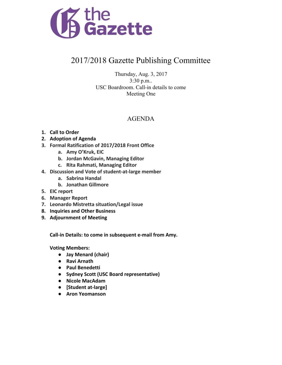 Publications Committee Agenda July 2017
