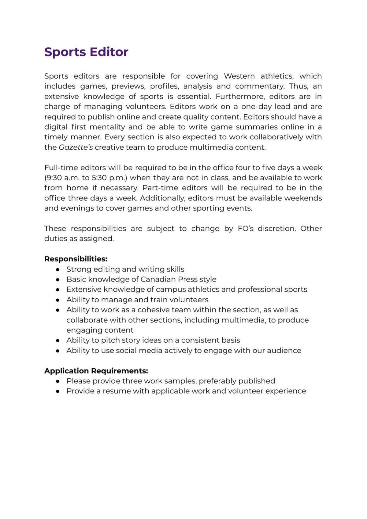 Sports Editor Job Description 2021