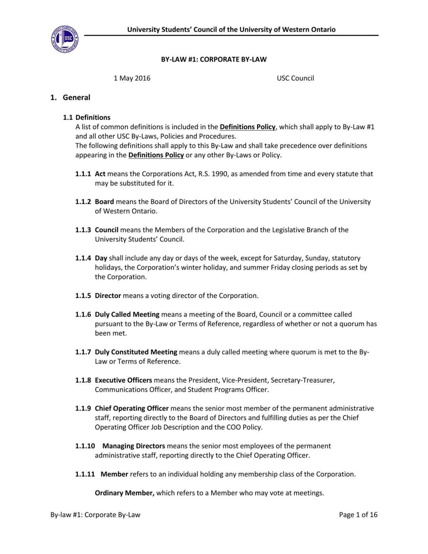 Bylaw 1 amendment