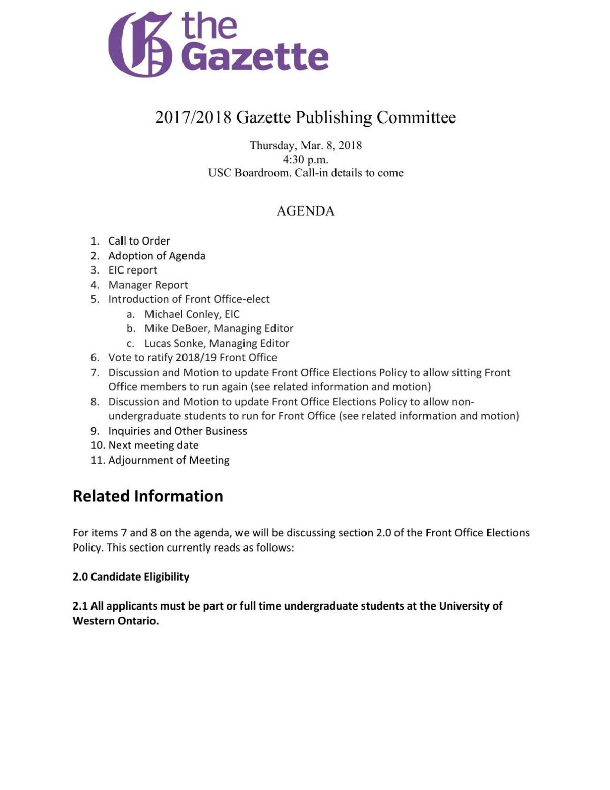 Publications committee March 2018