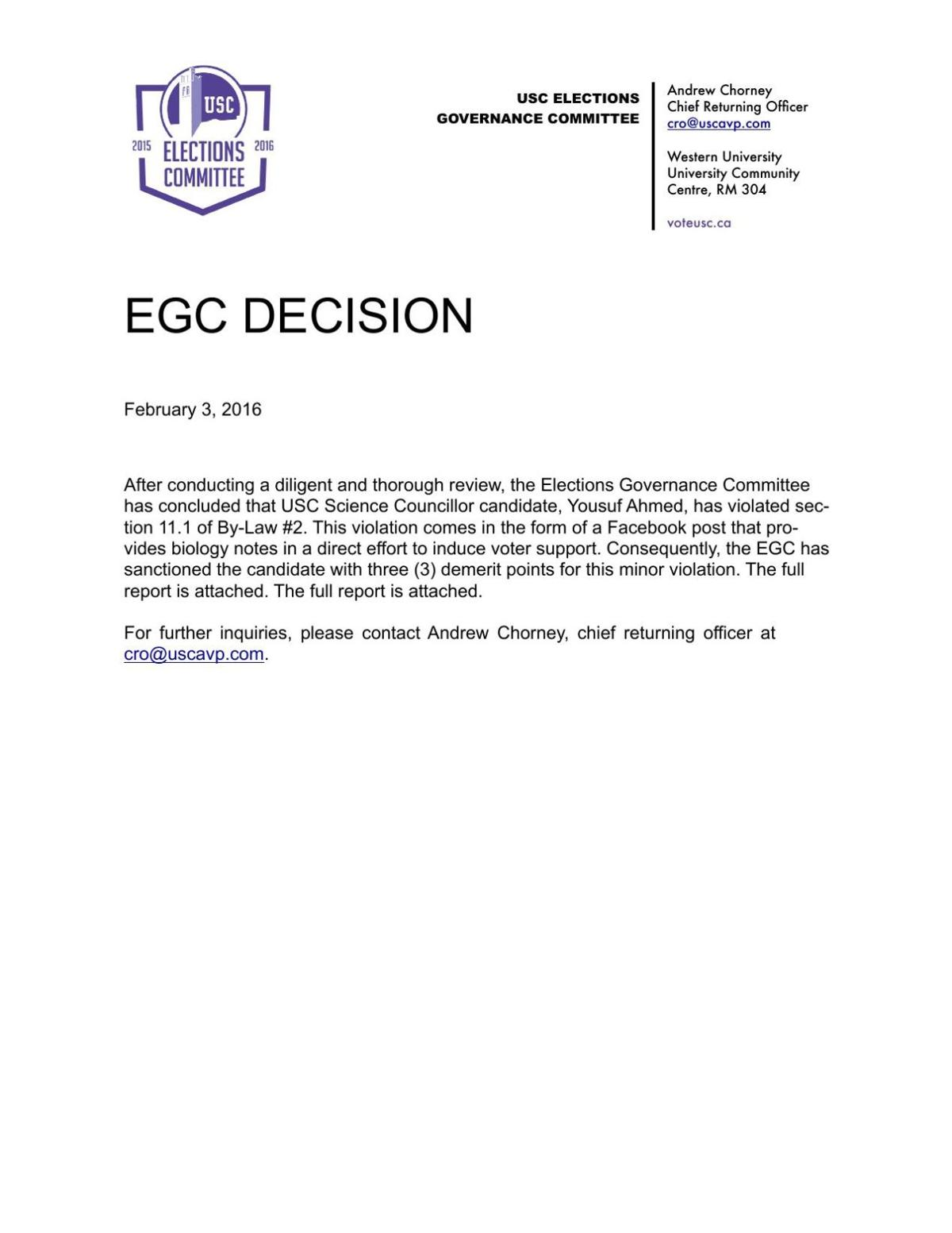 EGC Decision re: Ahmed, Yousuf