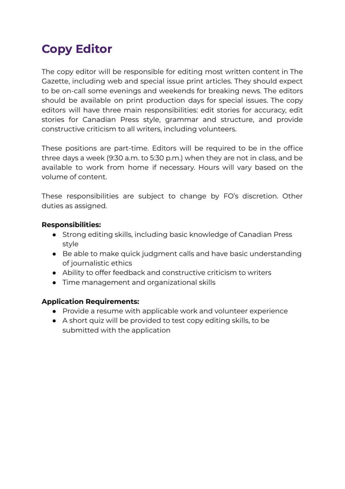 Copy Editor Job Description 2021