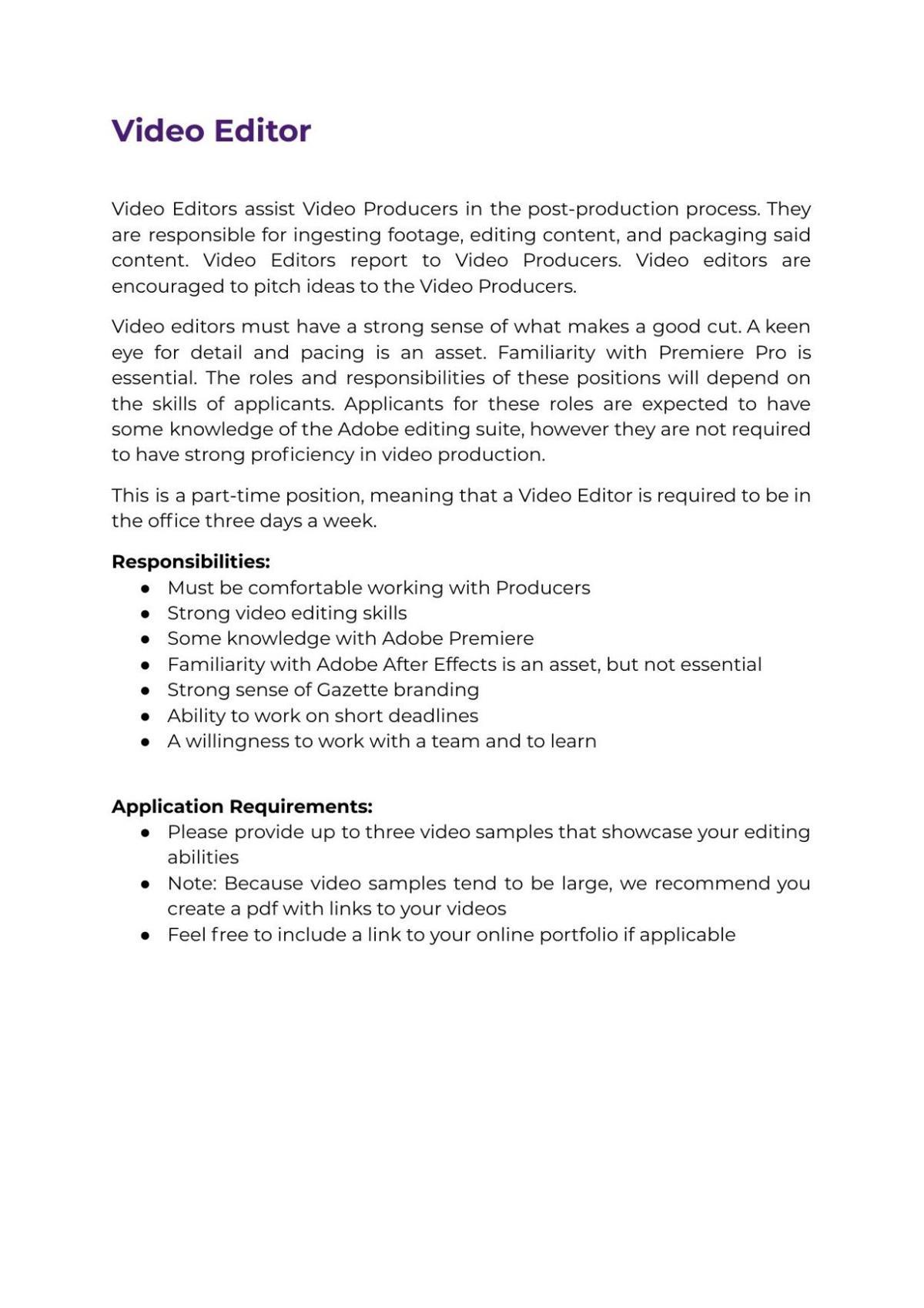 Video Editor Job Description 2021
