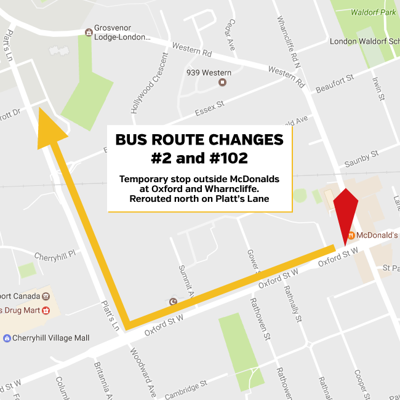 #2 and #102 Bus Route Change