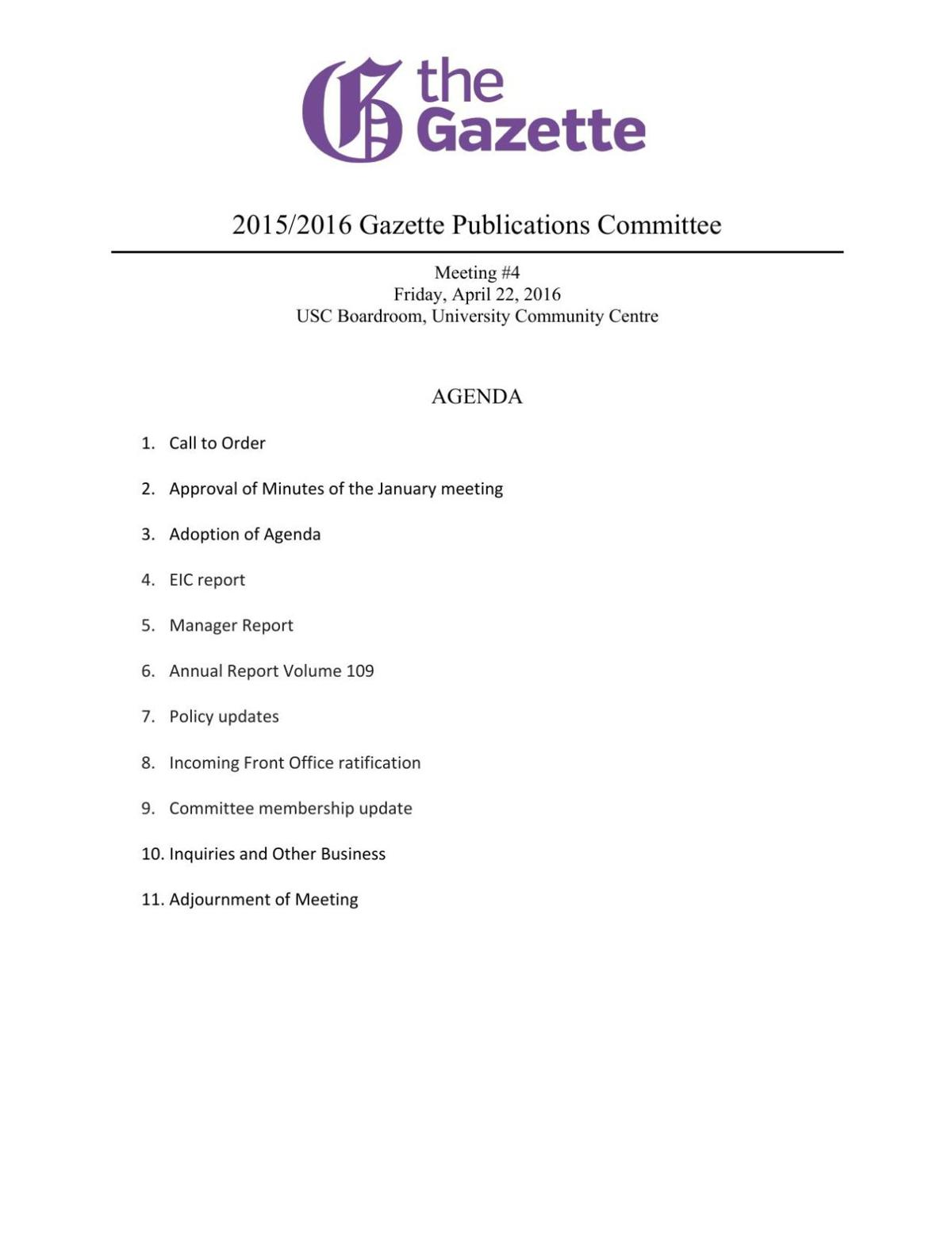 PDF: Publications Committee meeting agenda April, 2016