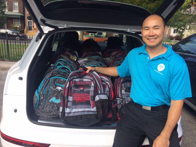 Vuong with backpacks