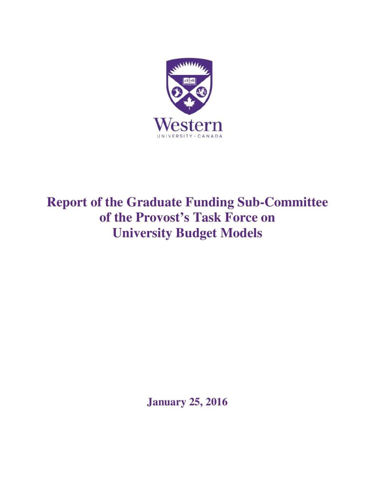Graduate Funding Sub-Committee of Provost's Budget Task Force Report