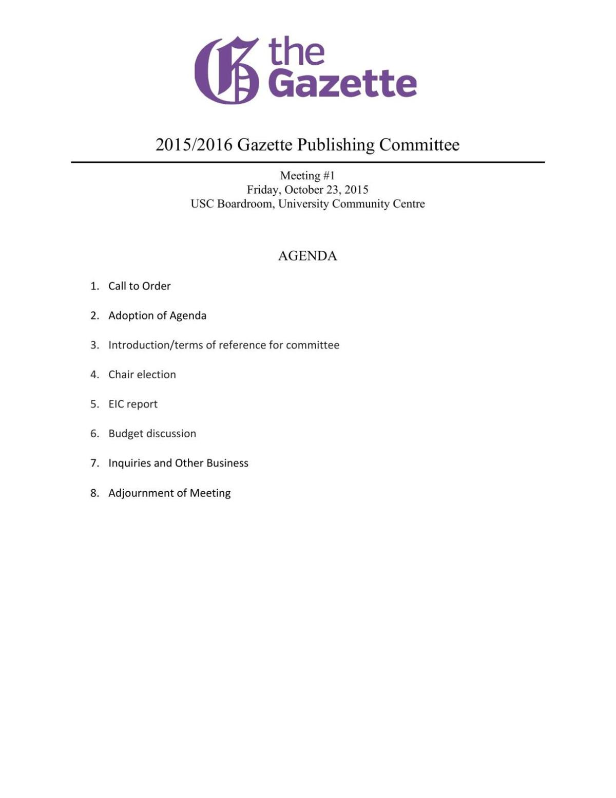 Publications Committee Meeting October 23, 2015
