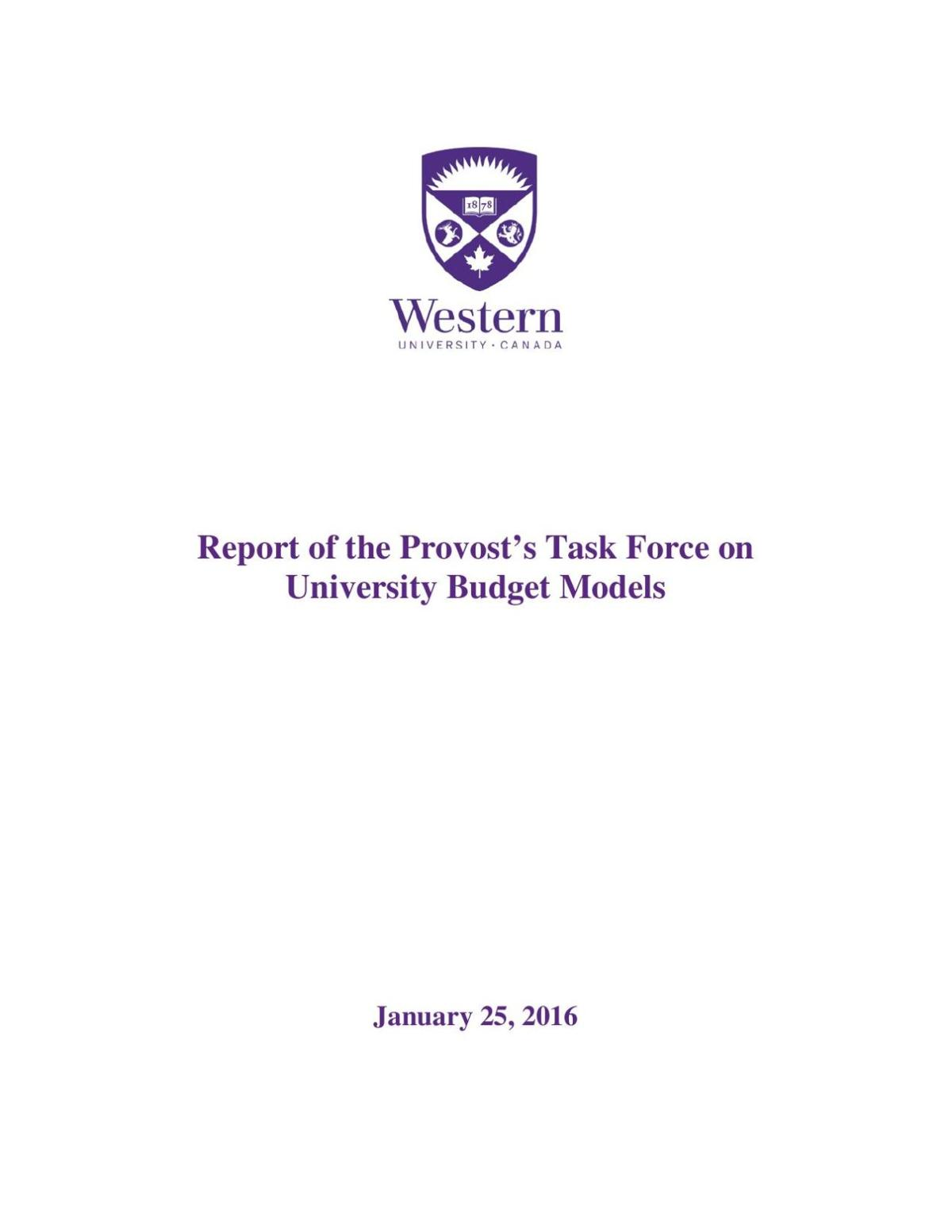 Provost's Budget Task Force Report