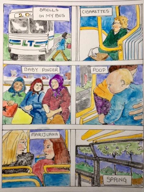 """Brenda Fuhrman """"on my bus"""" art"""