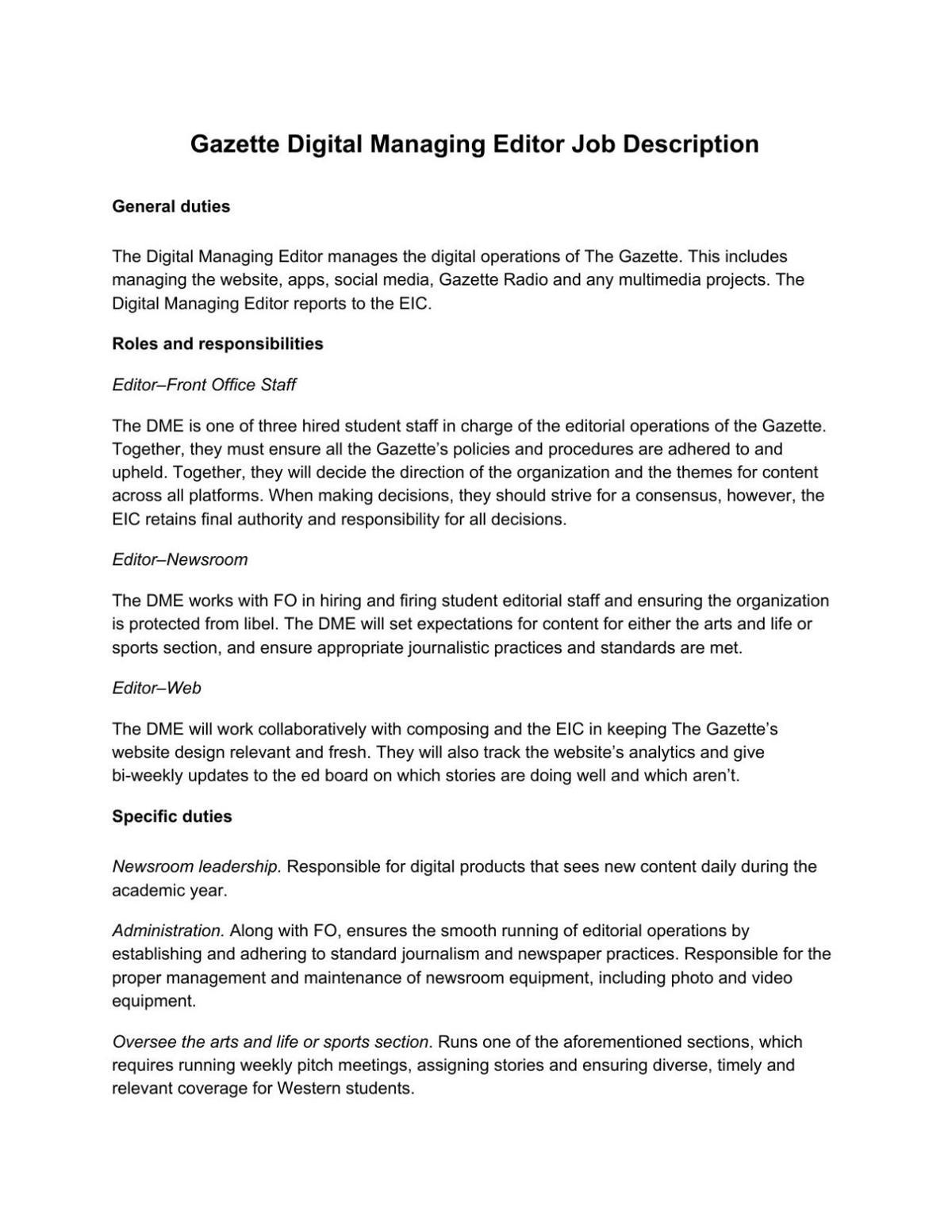 Digital Editor Job Description   Digital Managing Editor Application 2016 Pdf Westerngazette Ca