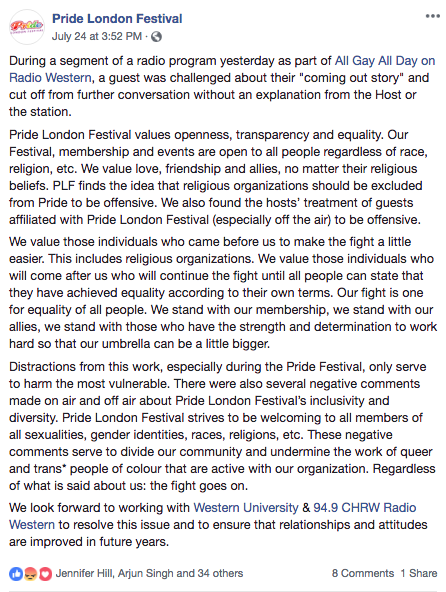Pride London Festival July 24 Facebook posts (post 2)
