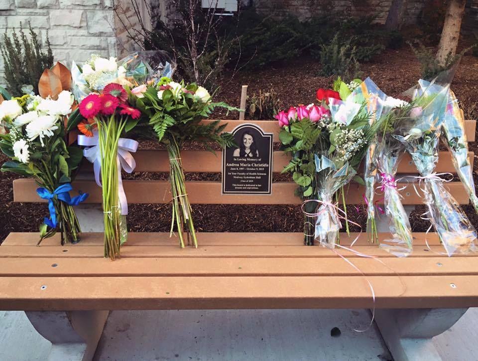 Andrea Christidis memorial bench
