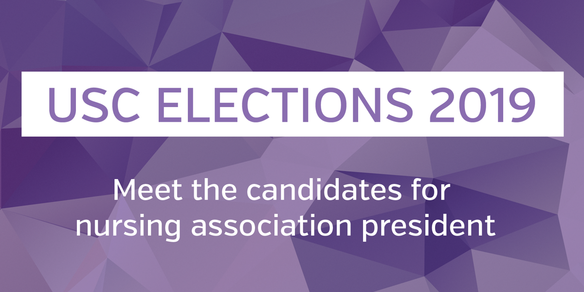 USC elections 2019 - nursing association president graphic