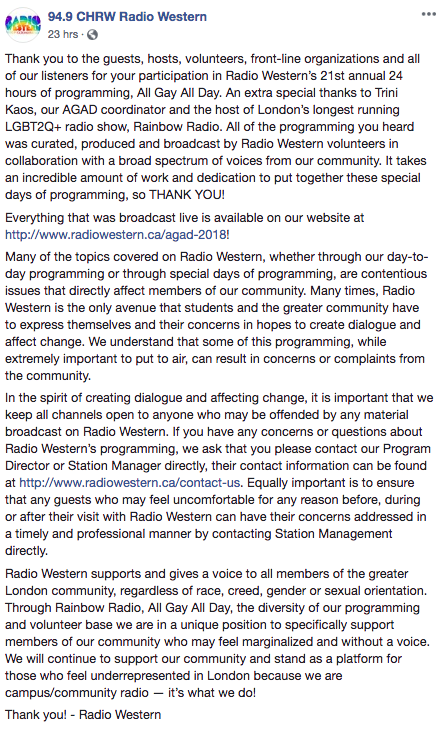 Radio Western Facebook statement (part 1)