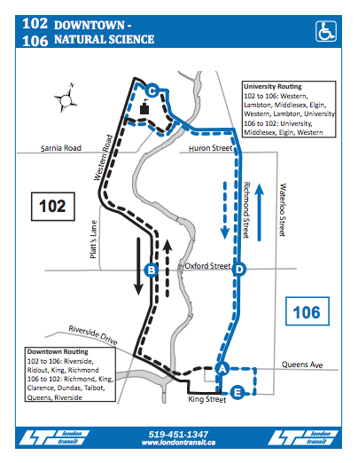 LTC routes 102 and 106 map