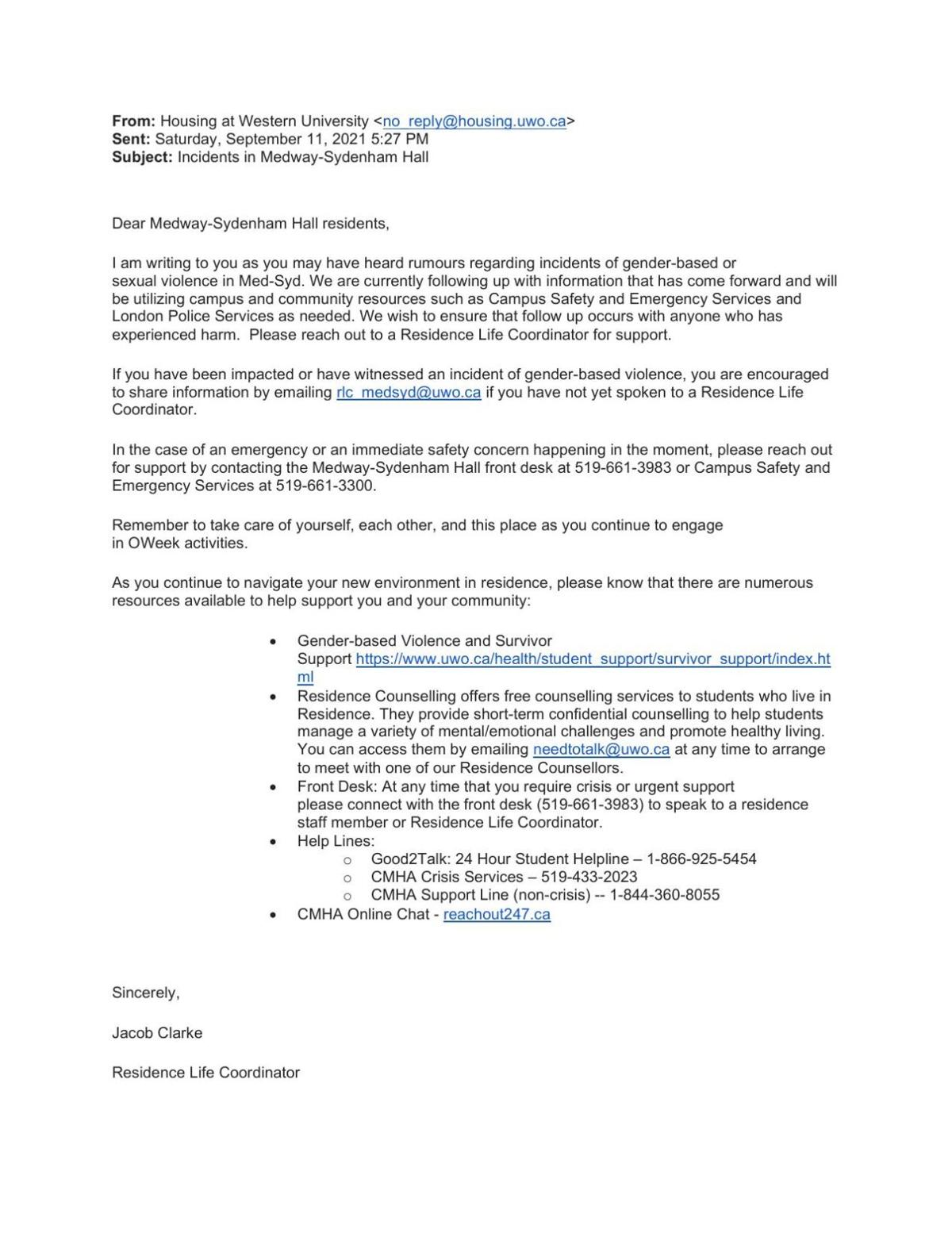 Email to Med-Syd residents