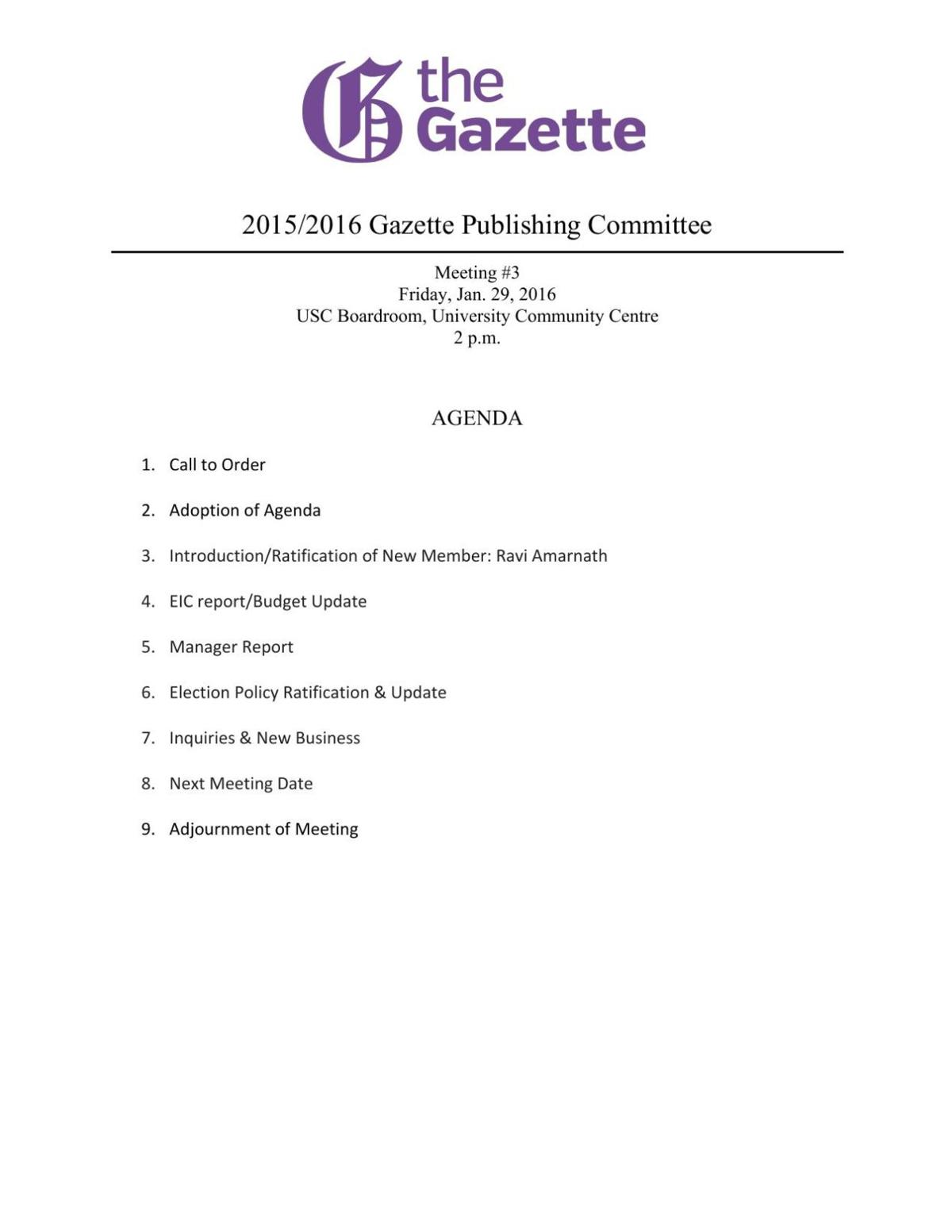 Publications Commitee January 29, 2016