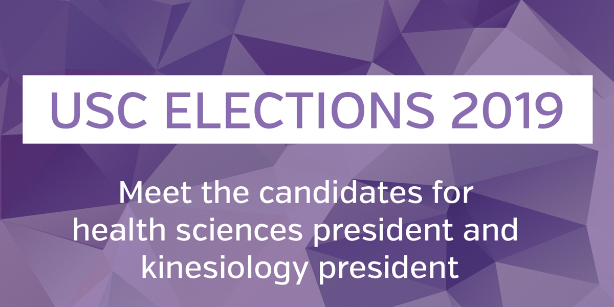 USC elections 2019 - health sciences president and kinesiology president graphic