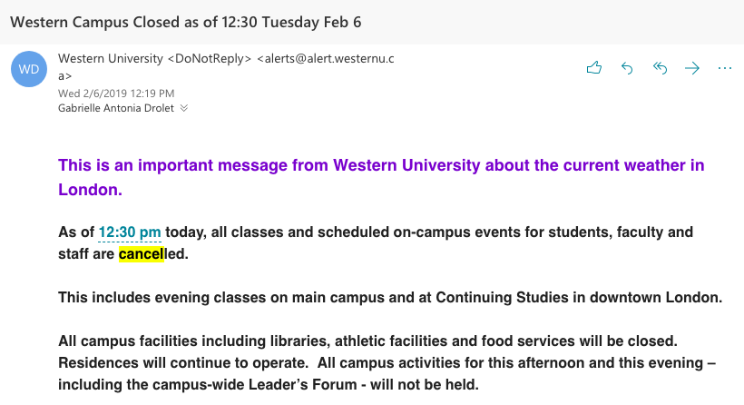 02/06/2019 \\ Western Campus Closing Email Screenshot