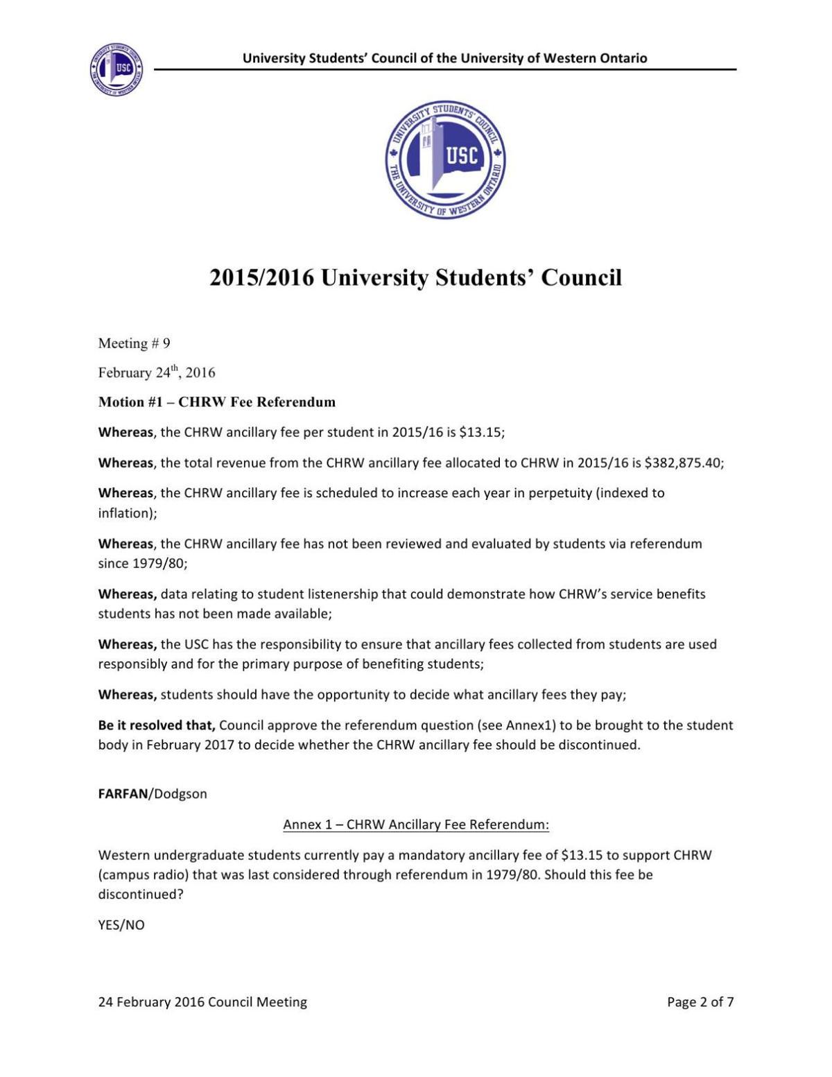 Motion for referendum on CHRW fee
