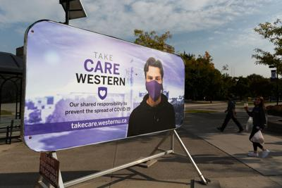 """""""Care Western"""" sign outside of UCC"""