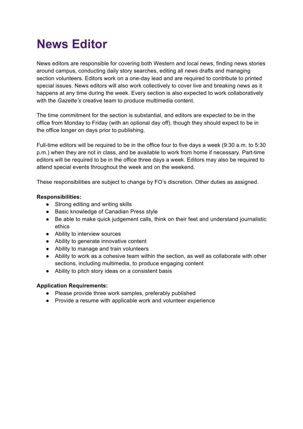 News Editor Job Description 2020