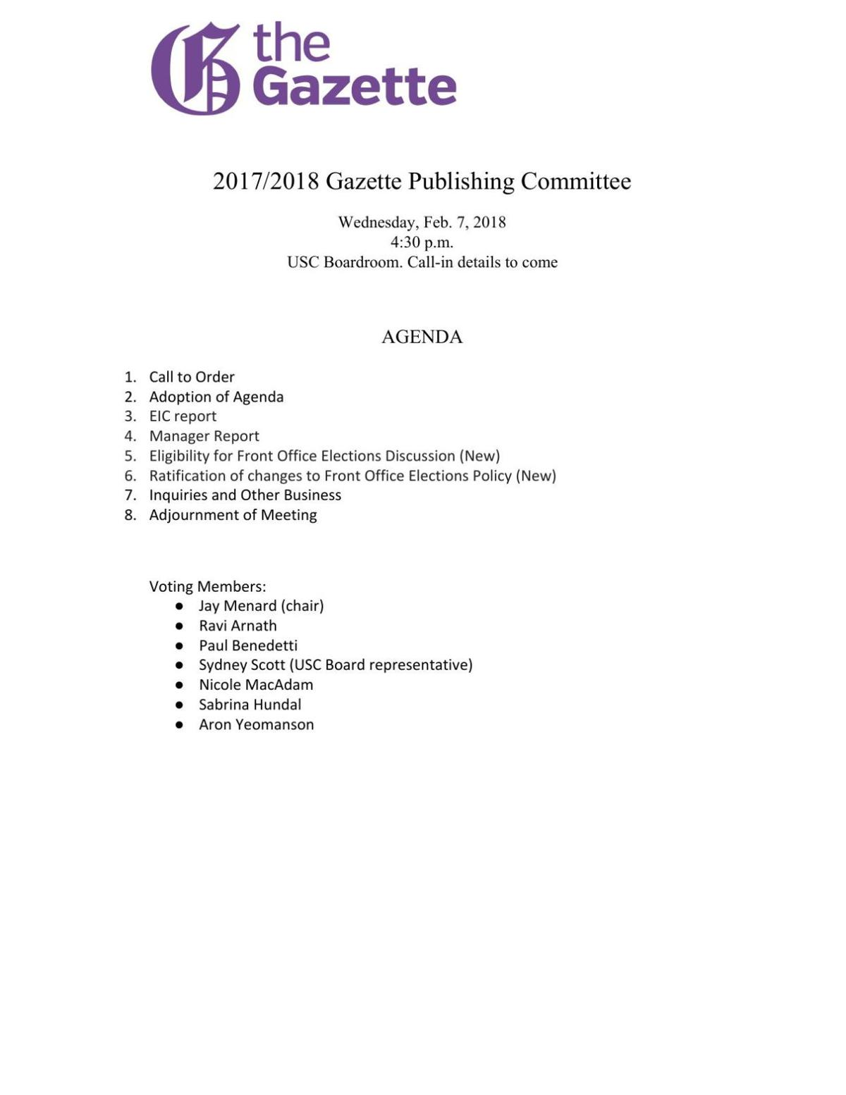 Publications committee February 2018