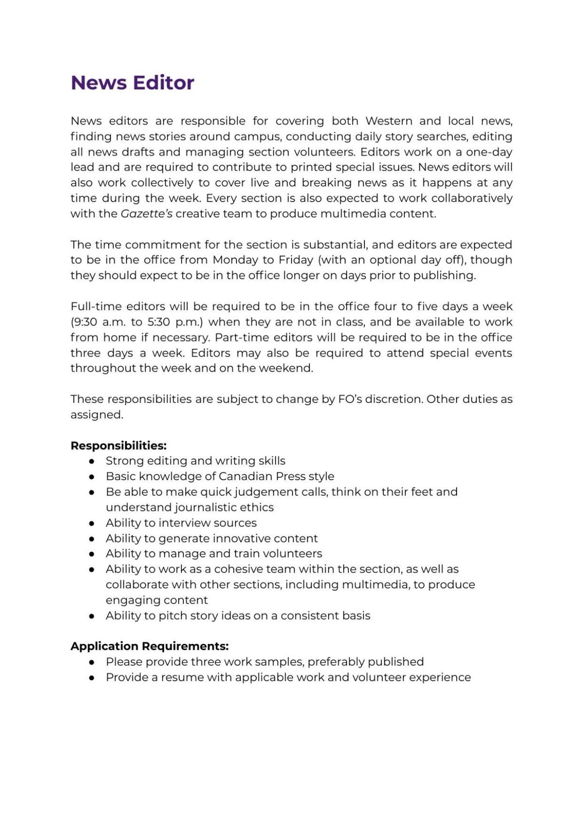 News Editor Job Description 2021