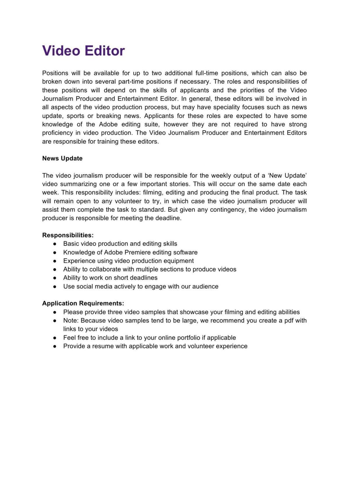 Video Editor Job Description 2020