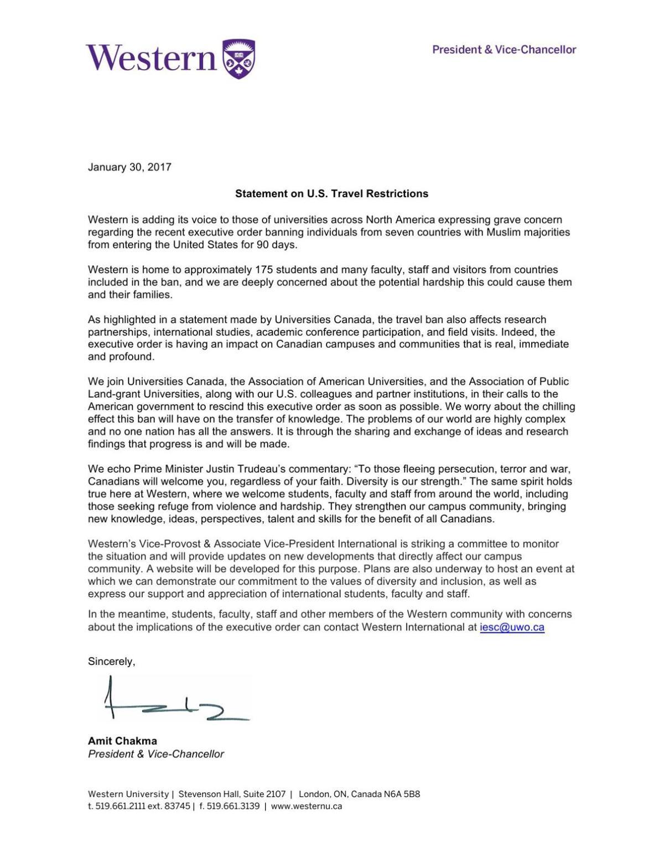 AC statement on U.S. Travel Restrictions