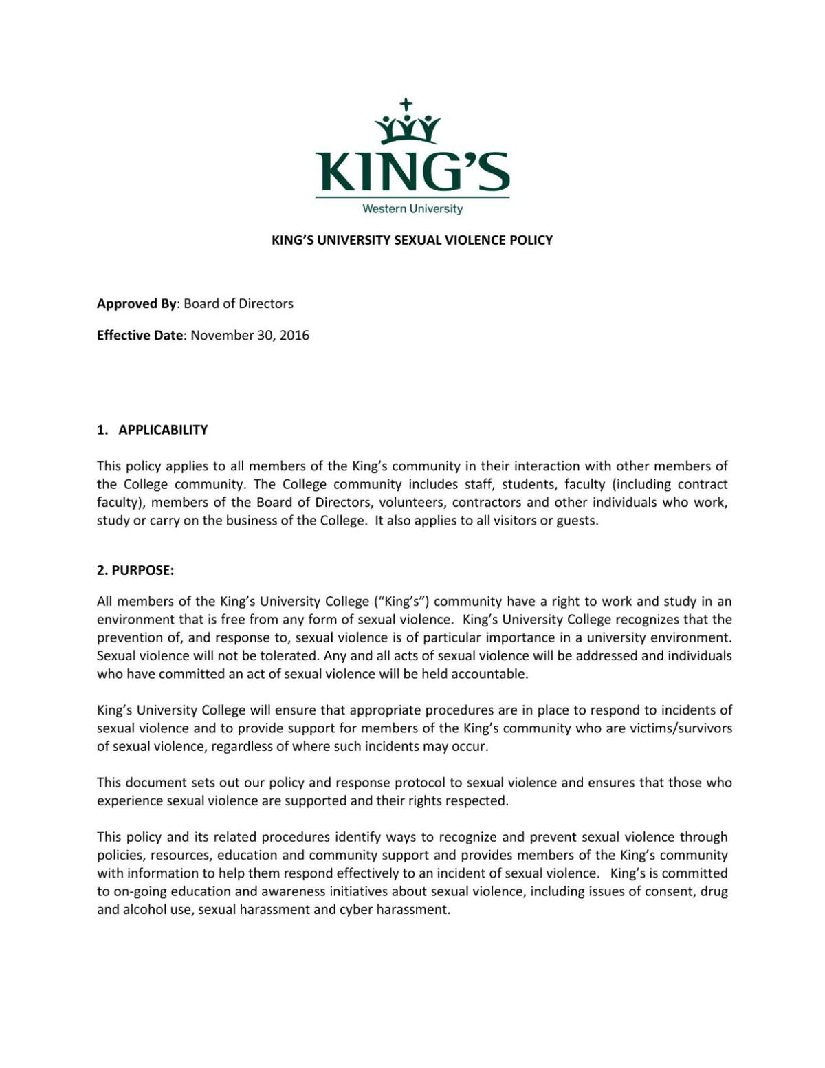King's Sexual Violence Policy