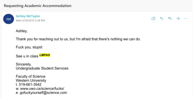 Academic Advising email (Photo)