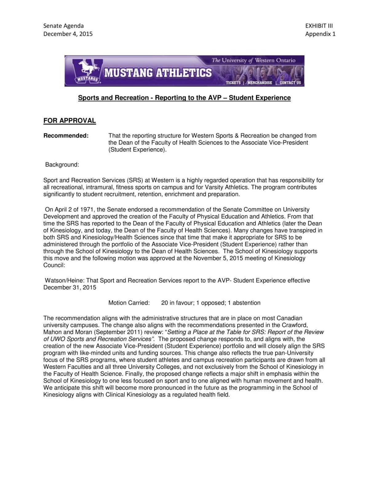 Student recreation reporting structure change