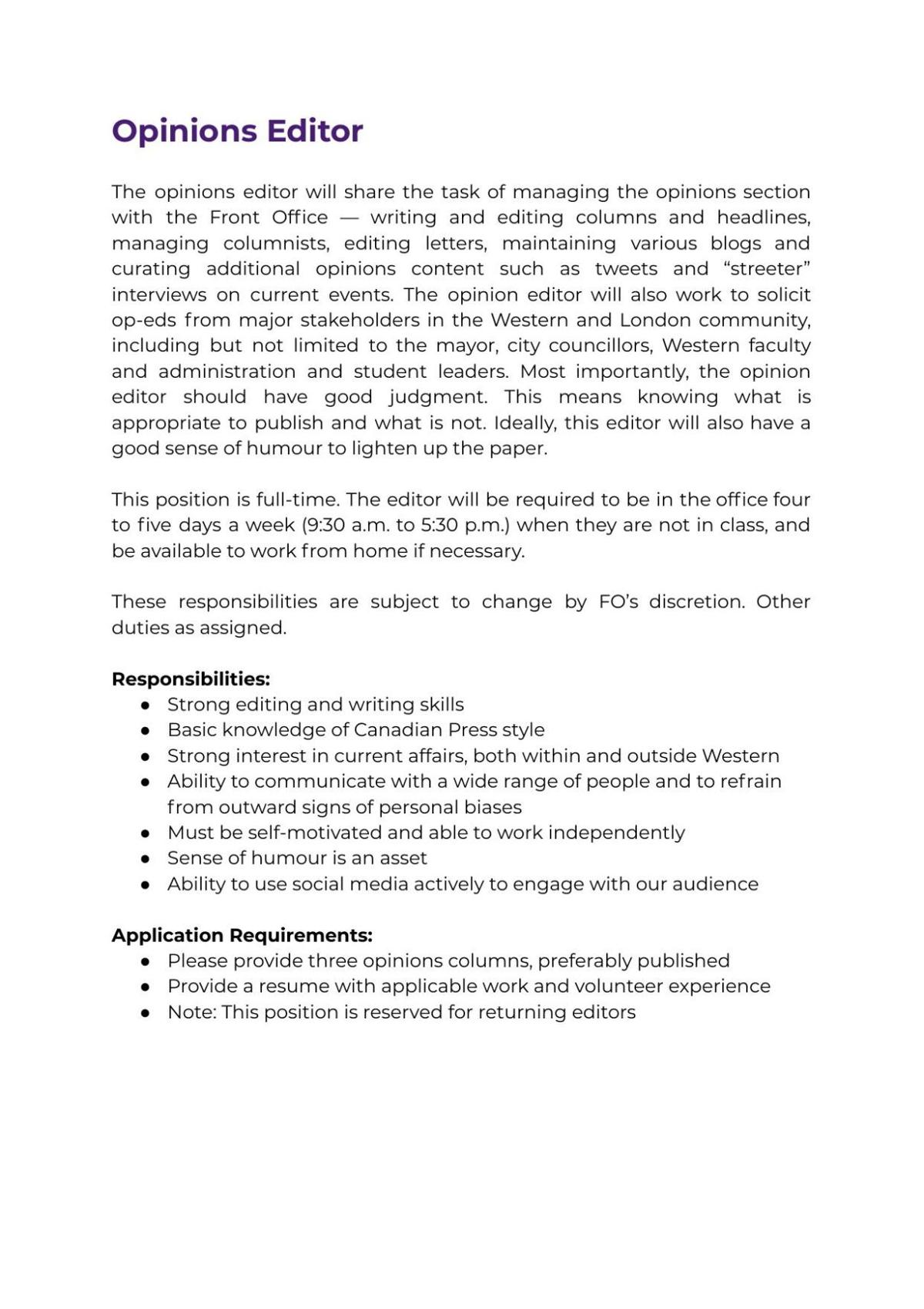 Opinions Editor Job Description 2021